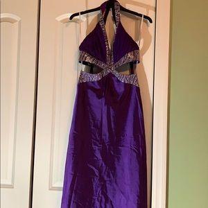 Purple floor length dress